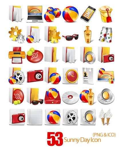دانلود آیکون های متنوع زرد و قرمز و طلایی - Sunny Day Icon