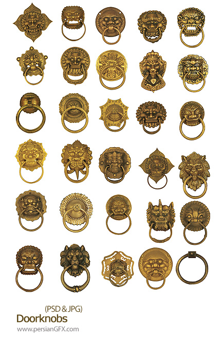دانلود تصویر لایه باز دستگیره های درب - Doorknobs