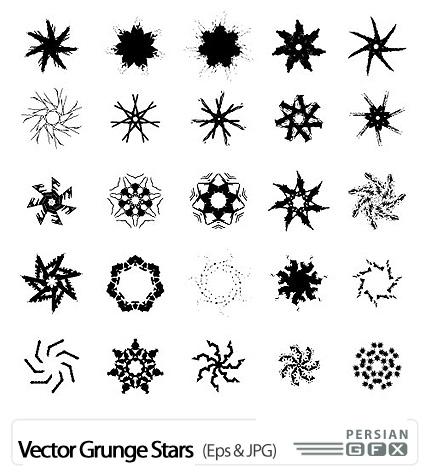 دانلود تصاویر وکتور ستاره - Vector Grunge Stars