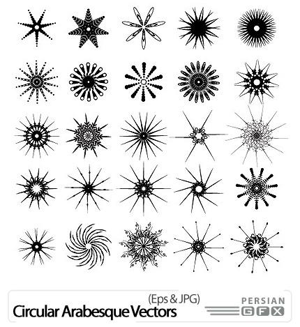دانلود تصاویر وکتور نقش های دایره ای و ستارهای مدور - Circular sque Vectors