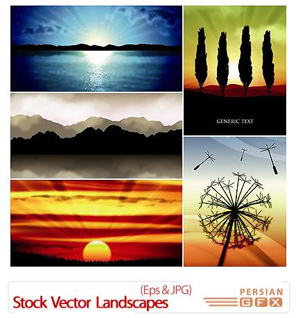 دانلود وکتور پس زمینه - Stock Vector Landscapes