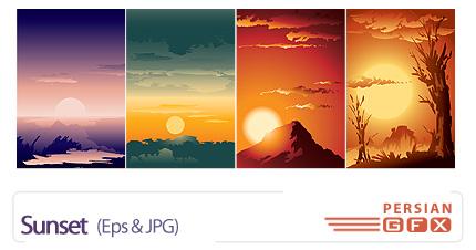 دانلود تصاویر وکتور غروب آفتاب - Sunset
