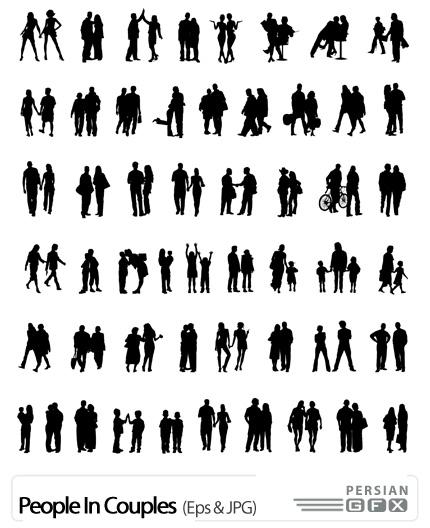 دانلود تصاویر وکتور آدمک های سیاه رنگ - People In Couples
