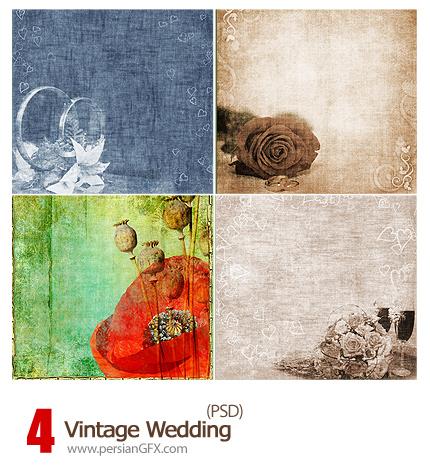 دانلود فریم گل دار زیبا - Vintage Wedding