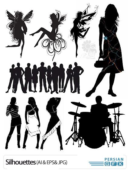 دانلود تصاویر وکتور شاتراستوک سایه های متنوع مرد و زن - ShutterStock Silhouettes