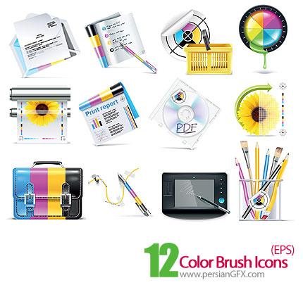 دانلود آیکون های رنگی لوازم التحریر - Color Brush Icons
