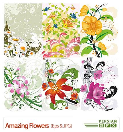 دانلود تصاویر وکتور گل های شگفت انگیز - Amazing Flowers