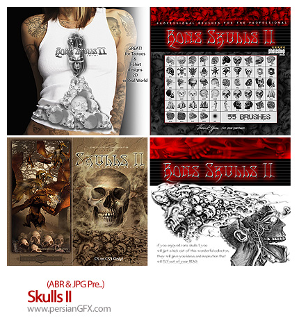 دانلود براش جمجمه - Skulls brush II
