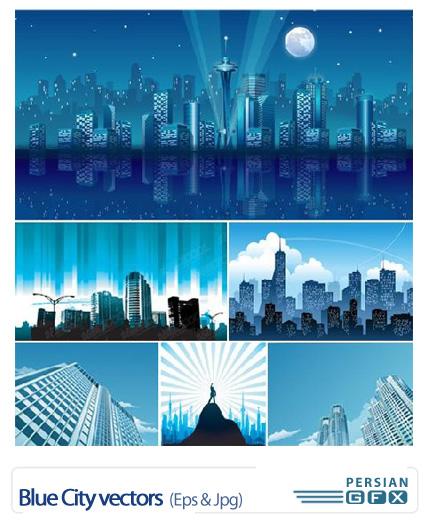 دانلود تصاویر وکتور شهر آبی - Blue City vectors