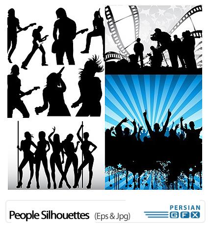 دانلود تصاویر وکتور سایه زن و مرد خواننده و رقصنده - People Silhouettes