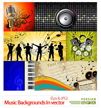 دانلود تصاویر وکتور پس زمینه های موسیقی - Shutterstock Music Backgrounds In Vector