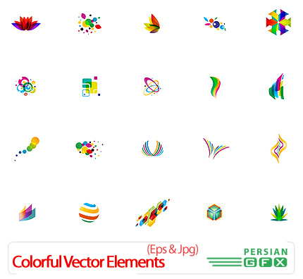 دانلود تصاویر وکتور اشکال متنوع رنگارنگ - Colorful Vector Elements