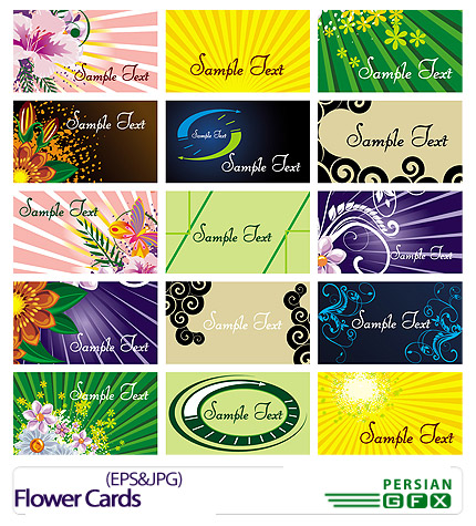 دانلود کارت ویزیت رنگی گلدار - Flower Cards
