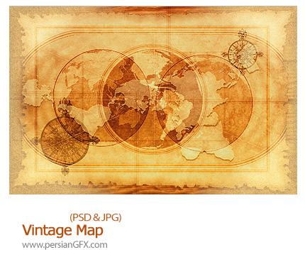 دانلود تصاویر لایه باز فهرست نقشه - Vintage Map