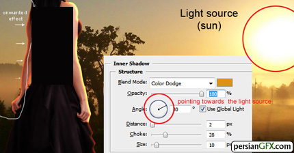 تنطیم زاویه نور در فتوشاپ