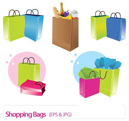 دانلود تصاویر وکتور کیف خرید، ساک دستی و ساک خرید - Shopping Bags