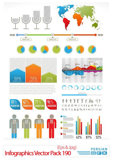دانلود تصاویر وکتور اطلاعات گرافیکی - Infographics Vector Pack 190