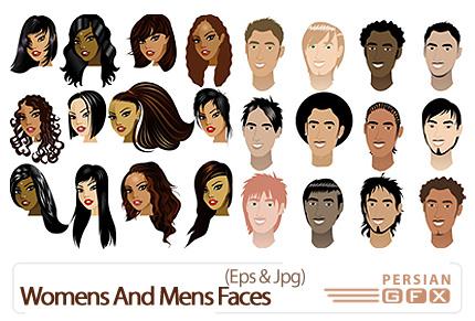 دانلود تصاویر وکتور چهره زن و مرد - Womens And Mens Faces Vector Set