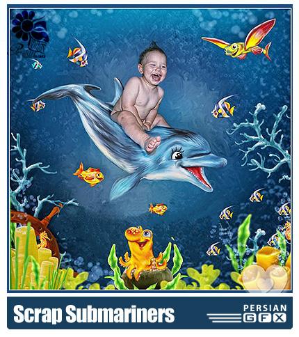 دانلود کلیپ آرت تصاویر موجودات دریایی - Scrap kit Funny Submariners