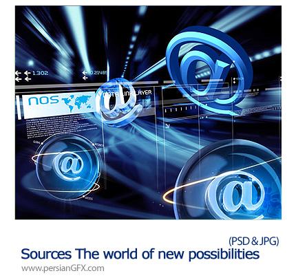 دانلود تصاویر لایه باز امکانات جدید جهانی - Sources The world of new possibilities