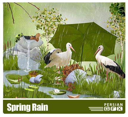 دانلود کلیپ آرت تصاویر باران بهاری - Spring Rain