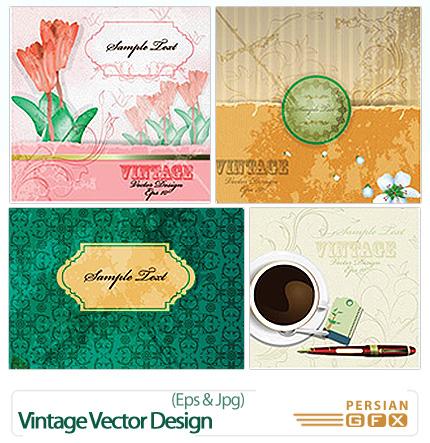 دانلود تصاویر وکتور متنوع تزئینی - Vintage Vector Design Set