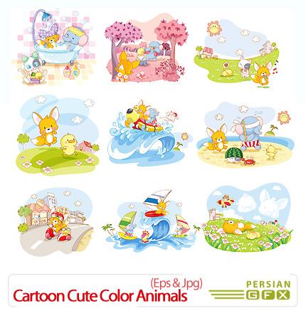 دانلود تصاویر وکتور کاریکاتور حیوانات با رنگ آمیزی زیبا - Vectors Cartoon Cute Color Animals