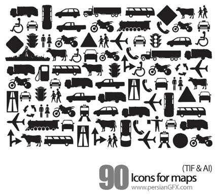 دانلود آیکون های نقشه - Icons for maps