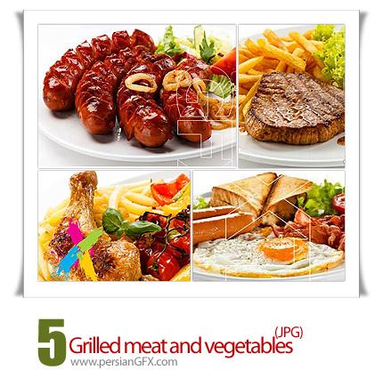 دانلود تصاویر با کیفیت گوشت کبابی و سبزیجات - Grilled meat and vegetables Stock Photo
