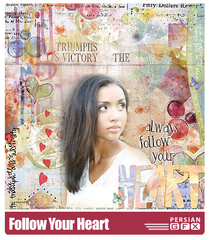 دانلود کلیپ آرت تصاویر قلب و گل پارچه ای - Follow Your Heart by Rosey Posey