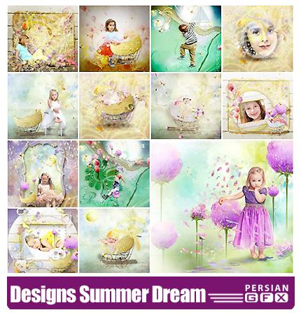 دانلود کلیپ آرت تصاویر رویاهای کودکانه - Lily Designs Summer Dream