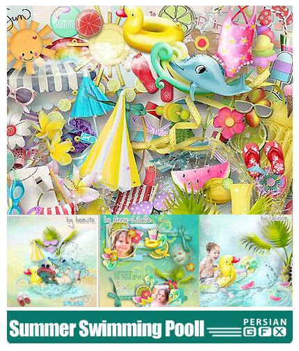 دانلود کلیپ آرت تصاویر تابستانه شنا کردن کودکان دراستخر - Lily Designs Summer Dream
