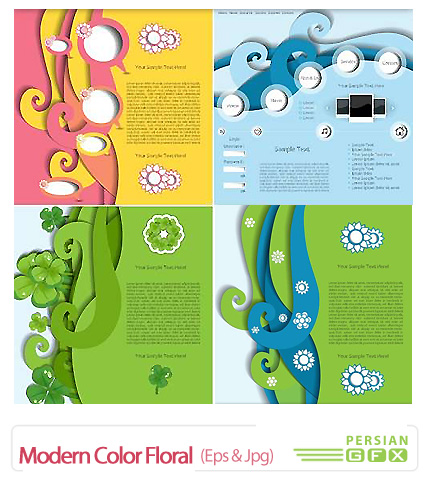دانلود تصاویر وکتور پس زمینه های رنگارنگ - Modern Color Floral Templates Vector