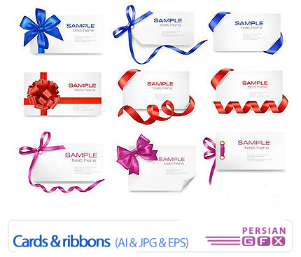 دانلود تصاویر وکتور کارت و روبان - Cards & Ribbons