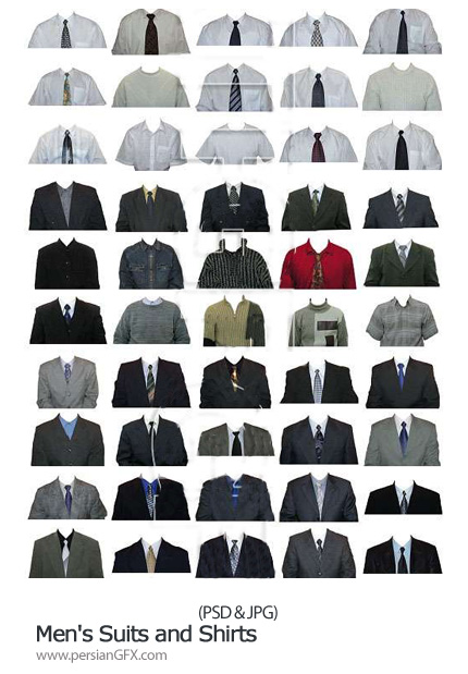 دانلود تصاویر لایه باز طرح های آماده پیراهن مردانه - Men's Suits and Shirts