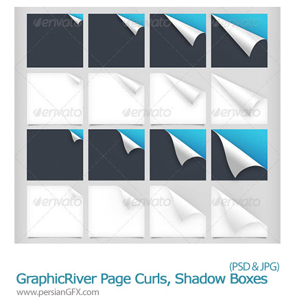 دانلود تصاویر لایه باز فرم های آماده کاغذ لبه تا شده، سایه کاغذ