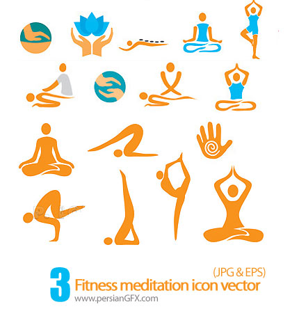 کلکسیون آیکون های تناسب اندام مدیتیشن - Fitness meditation icon vector