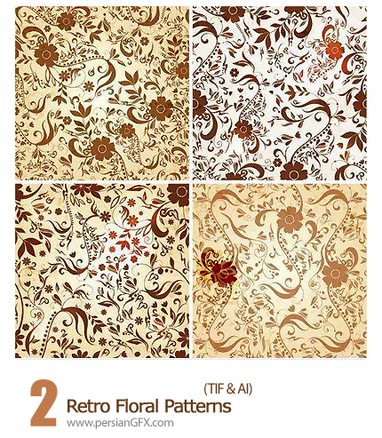 دانلود تصاویر بافت گلدار - Retro Floral Patterns