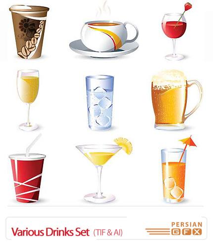دانلود تصاویر وکتور مجموعه نوشیدنی های مختلف - Various Drinks Set