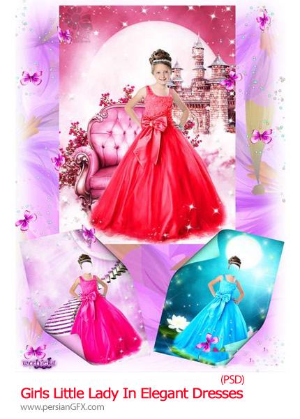 دانلود تصاویر لایه باز لباس پرنسسی دختران - Patterns For Girls Little Lady In Elegant Dresses