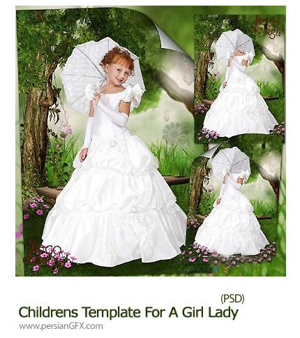 دانلود تصاویر لایه باز قالب آماده لباس سفید و چتر برای دختر - Childrens Template For A Girl Lady In White With An Umbrella On A Walk