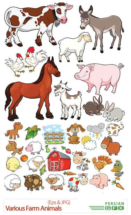 دانلود تصاویر وکتور حیوانات مزرعه مختلف - Various Farm Animals