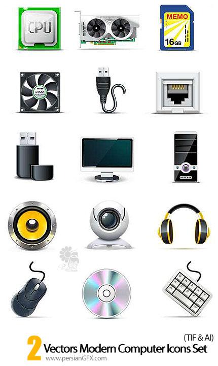 دانلود آیکون های سخت افزار کامپیوتر - Vectors Modern Computer Icons Set