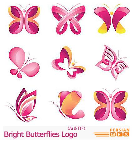 دانلود تصاویر لوگوهای پروانه - Bright Butterflies Logo
