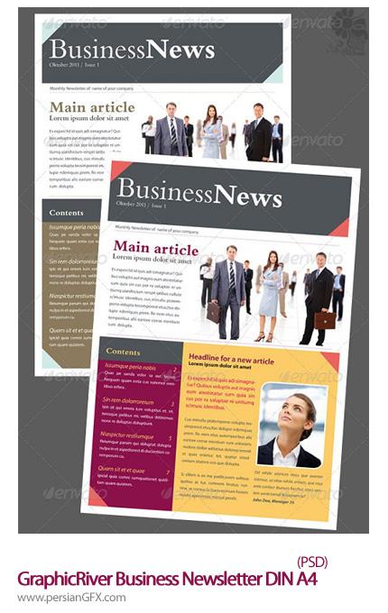 دانلود تصاویر لایه باز بروشور خبرنامه کسب و کار گرافیک ریور - GraphicRiver Business Newsletter DIN A4