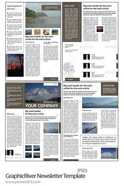 دانلود تصاویر لایه باز خبرنامه قابل تنظیم - GraphicRiver Newsletter Template (4 Pages - Adjustable)