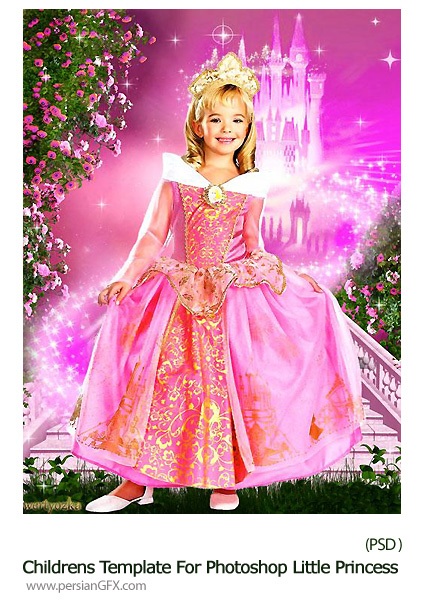 دانلود تصاویر لایه باز شاهزاده در قلعه گل رز برای کودکان - Childrens Template For Photoshop Little Princess At The Castle With Roses