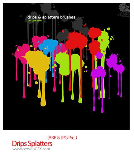مجموعه براش رنگ های پاشیده شده - Drips Splatters