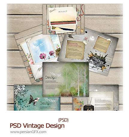 دانلود تصاویر لایه باز قالب های آماده تصاویر زیبا - PSD Vintage Design