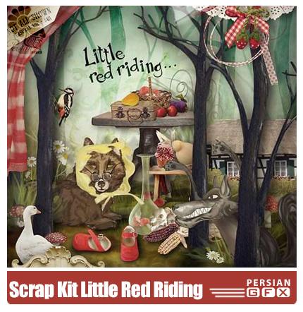 دانلود کلیپ آرت قرمز، عناصر طراحی، میوه، کفش - Scrap Kit Little Red Riding